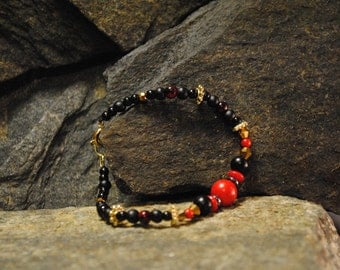 Womens Beaded Bracelet - Red, Black, and Gold