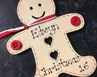 Personalised Wooden Gingerbread Man Christmas Decoration