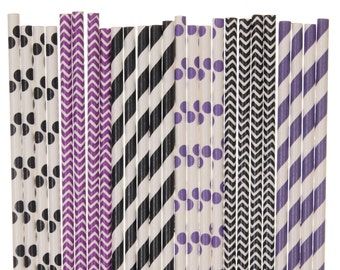Paper Straw Mix, Purple and Black Paper Straws, Sweet 16 Party Supplies, Wedding Straws, Engagement Party Decor, Graduation Party Decoration