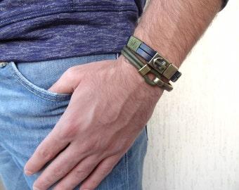 EXPRESS SHIPPING,Deep Khaki Leather Bracelet, Hook Clasp Bracelet, Antique Brass Half Bracelet ,Green Leather Bracelet, Father's Day Gifts