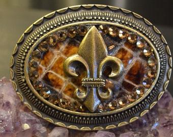 Fleur De Lis Belt Buckle, Brown Leather, Brass Tone, Ornate Detail, Fashion Buckle, Detailed Accessories, Boho Chic, Citrine Crystal Detail
