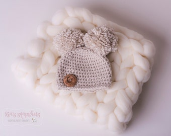 Pom Pom Newborn Crochet Hat