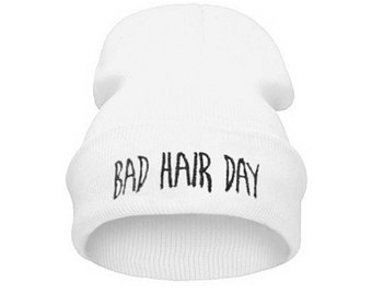 White 'Bad Hair Day' Beanie