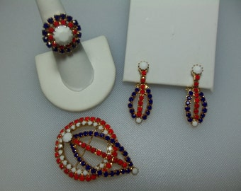 Patriotic Red, White and Blue Opaque Prong Set Rhinestone Gold Tone Pin, Dangle Clip Earrings and Adjustable Ring Set