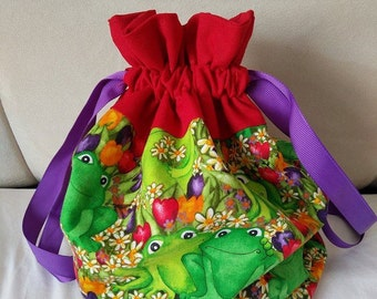 Frog - small drawstring project bag