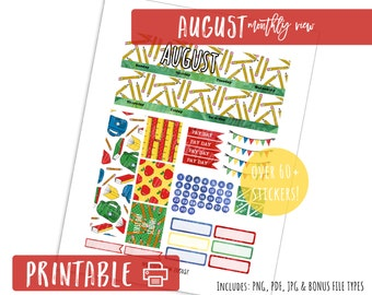 August Monthly View - Back to School- Printable Planner Stickers Month Kit NEW Erin Condren Life Planner
