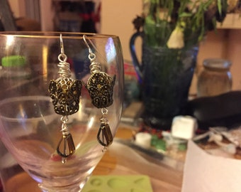Silver and gold filigree crystal earrings