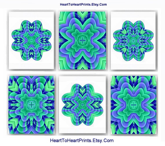 Items Similar To Teal Purple Abstract Flowers Wall Decor: Items Similar To Flower Mandala Art Prints Mint Teal