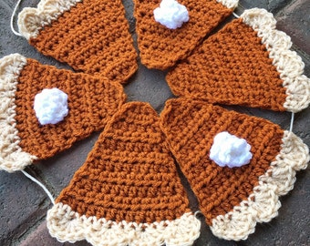 Autumn banner, Pumpkin pie garland, crocheted bunting, thanksgiving, harvest, buffet decor, pie station, farmhouse style