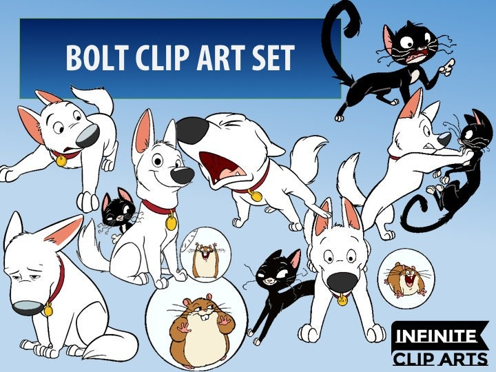35 Bolt Disney Clip art Printable Digital Clipart Graphic