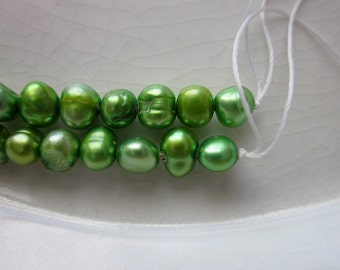 """Lime Green Freshwater Nugget Pearls, 5mm x 4mm, 14"""" Strand"""