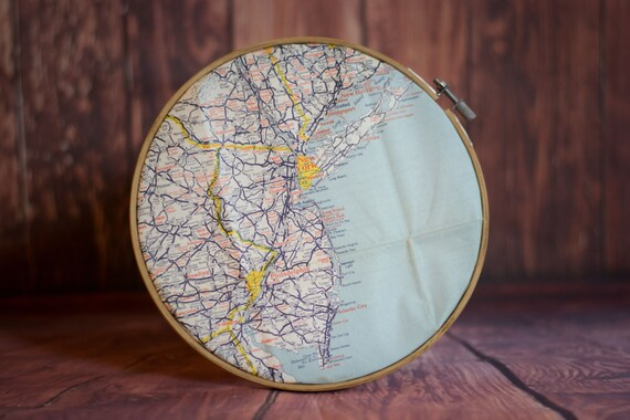 Embroidery hoop wall art inch vintage road map