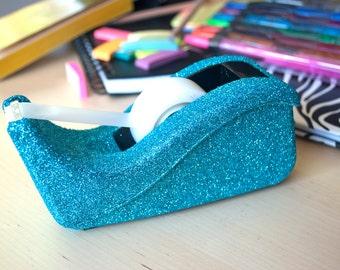 Turquoise Glitter Tape Dispenser, Blue Glitter Stapler. Office Supplies, Glitter Office Supplies, Tape Dispenser, Decorative Tape Dispenser