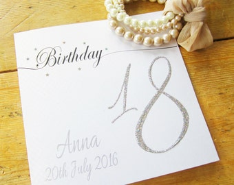Personalised Birthday Card - Glittered Age Design P16-53