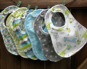 Bibs - Giraffe Bib Set in Blue Gray and Green Flannel and Terry - Set of 6 Bibs - Baby Shower Gift Set - Bib and Teether Shower Gift Set