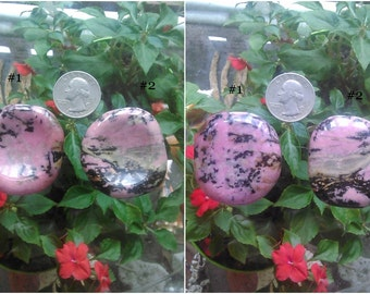 Polished Rhodonite Pink Worry Stones - Pink Crystal - Love Stone