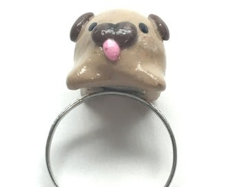 Polymer Clay Pug Ring *Adjustable*