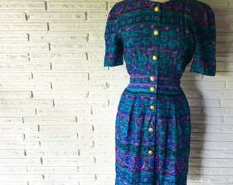 1980s Dress // Positive Attitude Vintage Dress