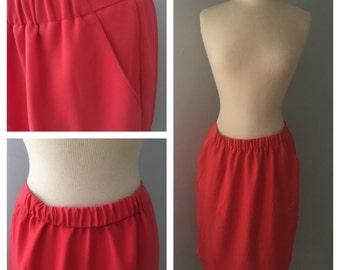Vintage Coral Pencil Skirt
