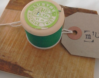Vintage green cotton reel wall hook