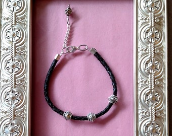 Brown Leather Bracelet with Pewter Accents