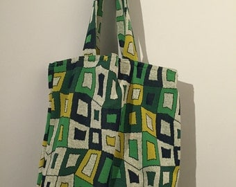 Retro geometric tote bag