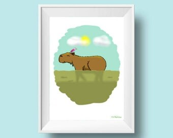 printable wall art, digital download, capybara drawing, rainforest print, baby Illustration, painting, kids wall art, nursery decor
