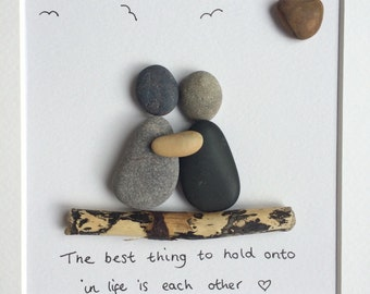 Pebble Wall Art. Couple Love Quote