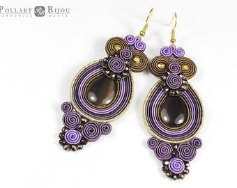 Soutache earrings, boho style, orecchini soutache, soutache, soutache bilaterial