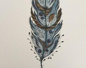 The Sea Feather Watercolour A4 Print