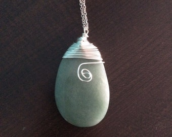 Silver Wire-wrapped Green Stone