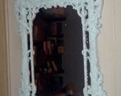 """Ice blue vintage ornate mirror. Hand painted antique shabby chic look. Upcycled Estate sale find. About 28""""H x 14""""W"""