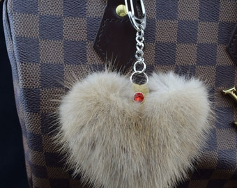 Fur mink fur trailer beige bag charms key ring