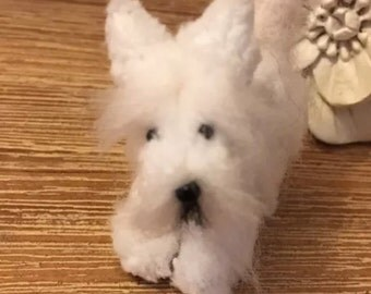 Ooak tiny handmade westie terrier cute dollhouse pet collectible, cute, gift