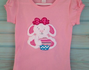 Tee with pleated short sleeves appliqued with bunny and easter by That's Sew Mimi