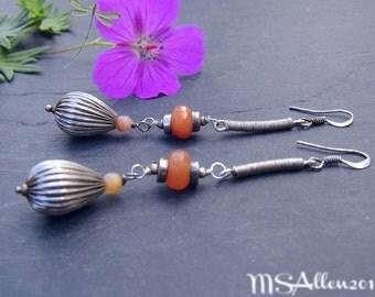 The Drop Earrings - Gemstone Long Orange Jade Dangle