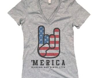 Funny 4th of July Women's Shirt - 'Merica Kicking Ass Since 1776 July 4th V-Neck Shirt