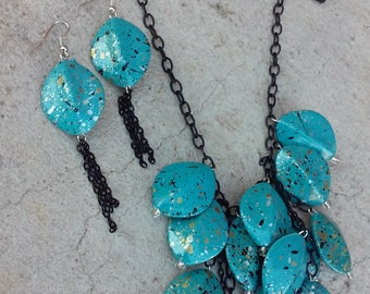 Turquoise Chandelier Necklace and Earring Set