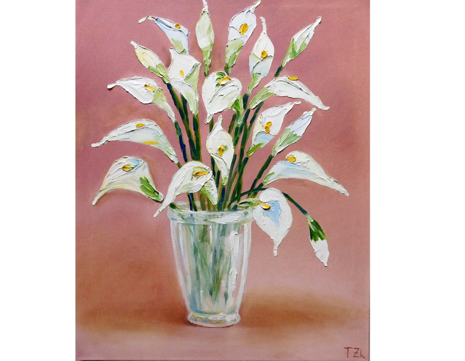 White Calla Lilies Original oil impasto painting white flowers