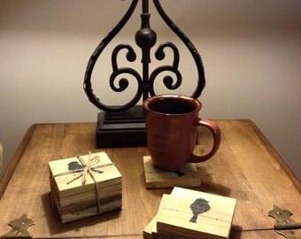 Coasters,Rustic Coasters,Table Decor,Reclaimed Wood Decor,Bird Decor,Wood Coasters