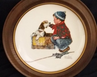 Norman Rockwell Collector Plate - Gorham Fine China 1971 Limited Edition - Winter - with Vintage Bard Wood Frame