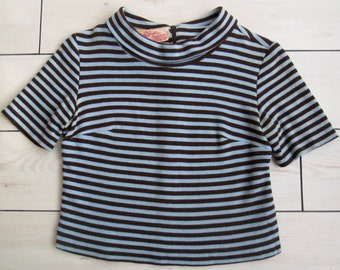 1950s Miss Bergdorf/ Bergdorf Goodman 746 Fifth Ave New York Cropped Stripe Knit Top