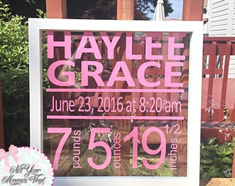 New Baby Stats Birth Announcement Personalized Frame- newborn, new baby gift, floating frame, new parents, nursery decor, baby stats frame,