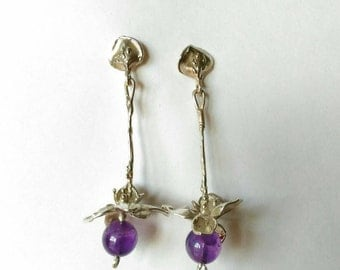 Orchid earrings silver and Amethyst