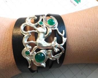 Green agate bracelet Kazakhstan, deer