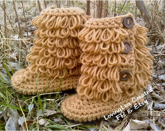 Handmade crochet fringe baby and toddler house boots