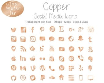 Copper Social Media Icons, Copper Website Resources, Copper Marketing Visuals,  Copper Foil Social Icons, Commercial Use, Blog Icons