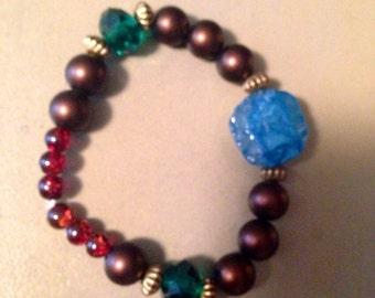 elastic beaded bracelet with stones