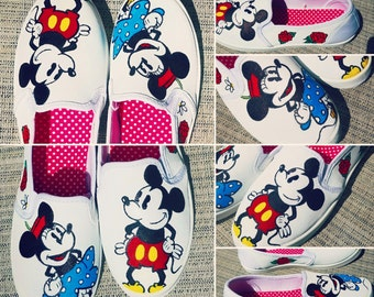 Custom Painted Disney Shoes- Classic Mickey and Minnie Mouse