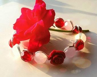 Rose Romance silver twisted bracelet